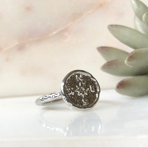 Boho Gypsy Festival Coin Compass Hammered Ring 7